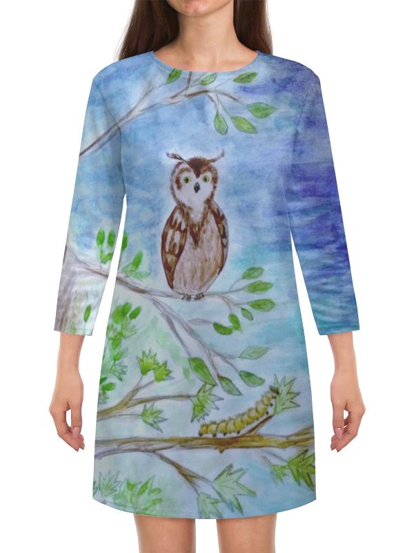 Платье с рукавами Printio Сова и гусеница i baby сова