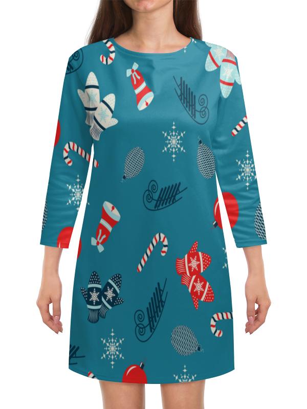 Платье с рукавами Printio Новогодние подарки