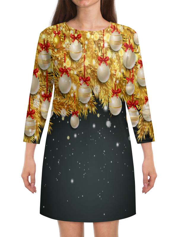 Платье с рукавами Printio Новогодние украшения