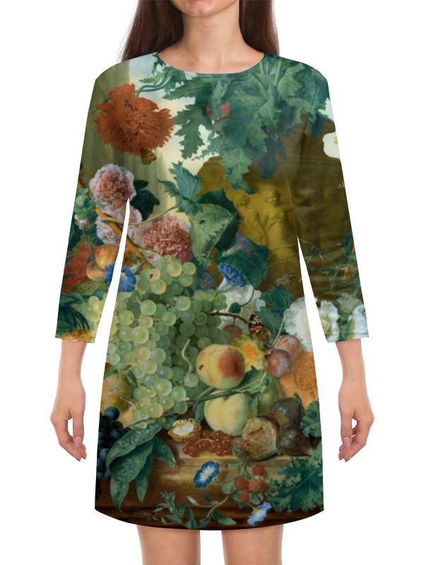 Платье с рукавами Printio Фрукты и цветы (ян ван хёйсум) чехол для samsung galaxy s5 printio цветы ян ван хёйсум