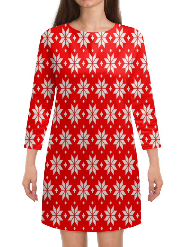 Платье с рукавами Printio Красно-белый узор ирландский красно белый сеттер украина
