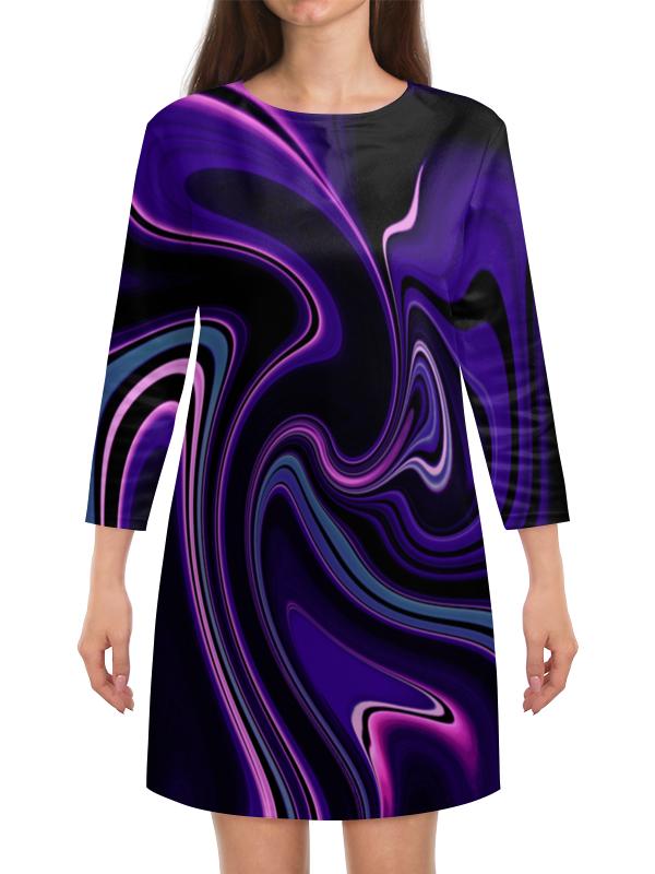 Платье с рукавами Printio Черно-синие краски платье с рукавами printio краски на воде