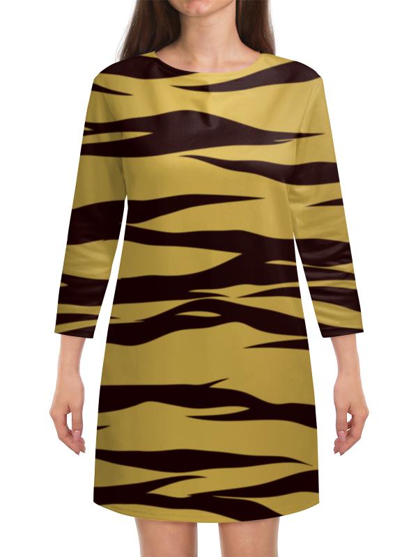 Платье с рукавами Printio Тигровый тигровый орех купить в москве