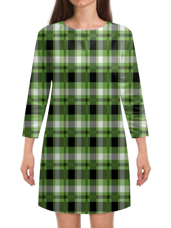 колыбель качалка beeangel зеленая клетка Платье с рукавами Printio Зеленая клетка