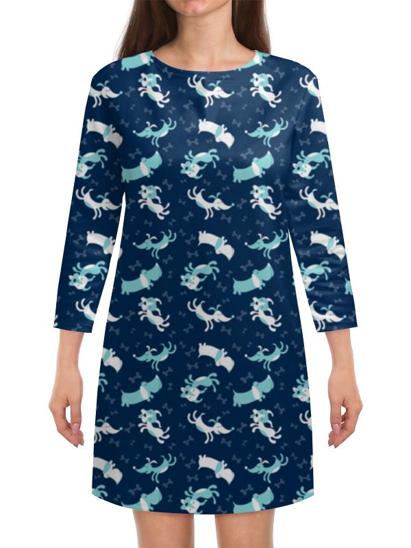 Платье с рукавами Printio Собачки компьютерный синие собачки