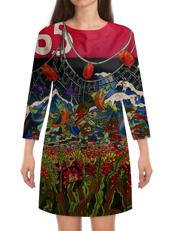 Платье с рукавами Printio Рождение и смерть лосося рождение