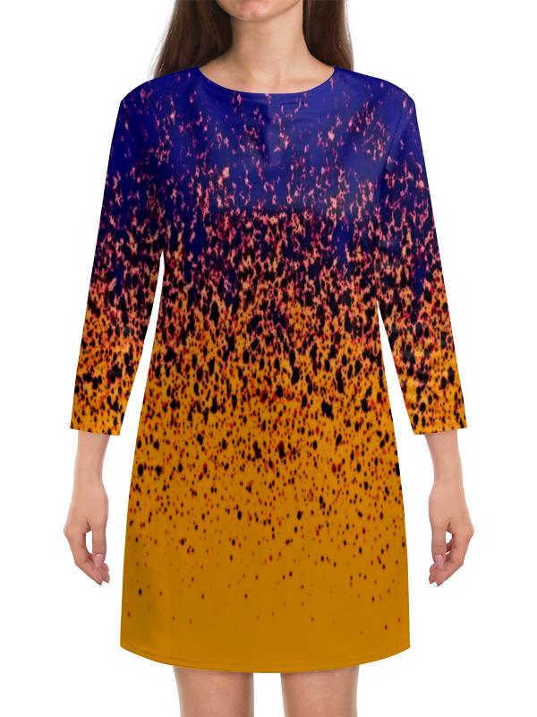 Платье с рукавами Printio Желто-синие краски