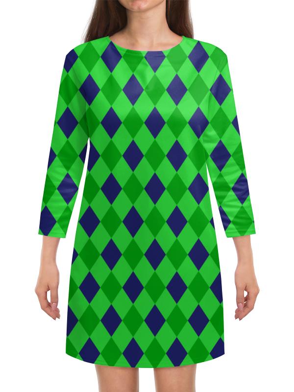 Платье с рукавами Printio Сине-зеленые квадраты платье с рукавами printio сине зеленые квадраты