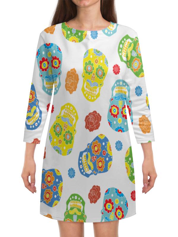 Платье с рукавами Printio Расписные черепа платье летнее printio расписные черепа