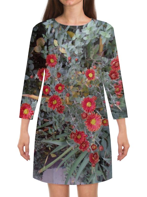 Платье с рукавами Printio Красные хризантемы ноября третий четверг ноября