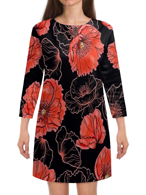 Платье с рукавами Printio Цветы платье с рукавами printio цветы красками