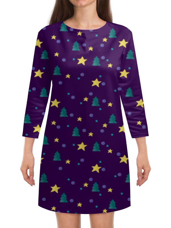 Платье с рукавами Printio Елки и звезды нашествие дни и ночи