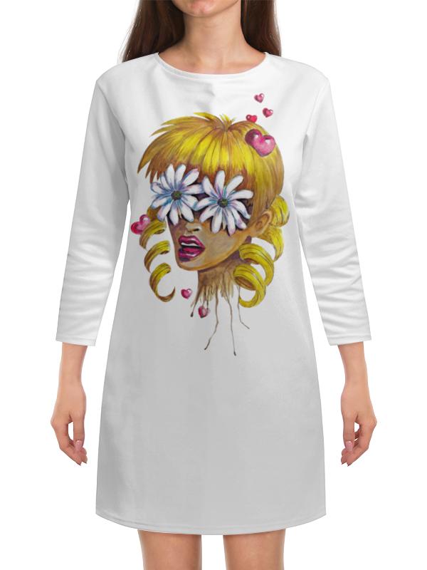 Платье с рукавами Printio Без ума от цветов дэйви о без ума от обезьян
