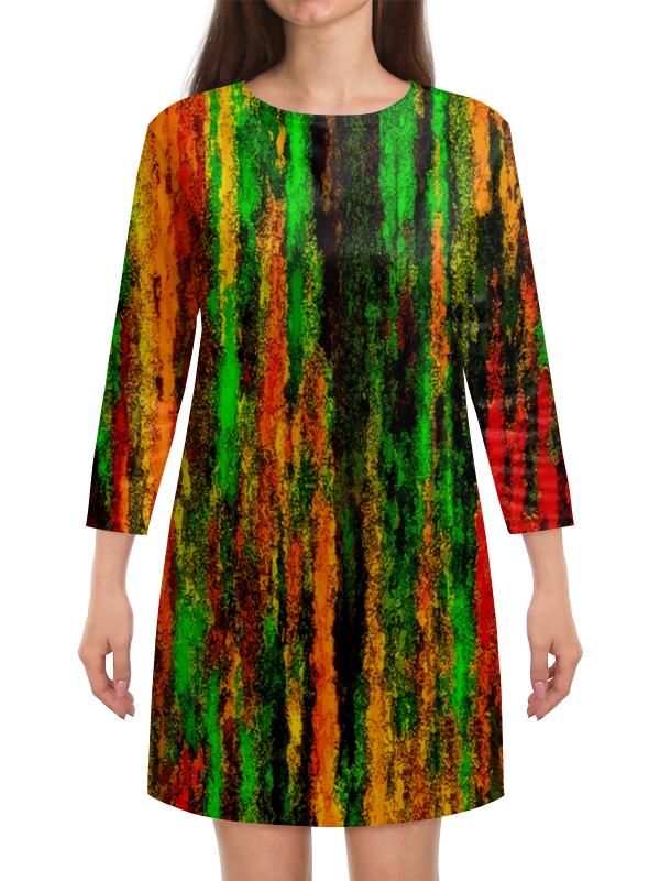 Платье с рукавами Printio Желто-зеленые краски