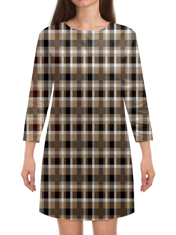 Платье с рукавами Printio Коричневая клетка techlink tr165wcr коричневая с белым