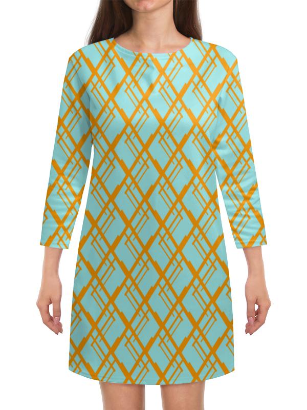 Платье с рукавами Printio Оранжевая клетка