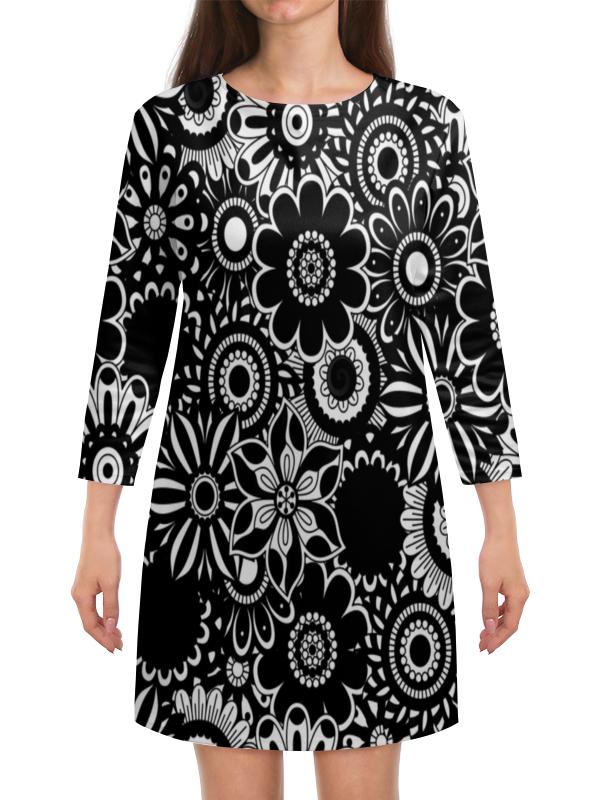 Платье с рукавами Printio Черно-белые цветы