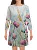 """Платье с рукавами """"Цветы. Утро"""" - цветок, акварель, живопись, нежный, акварелью"""