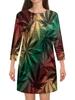 """Платье с рукавами """"Конопля"""" - листья, цветные, травка, конопля, трава"""