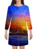 """Платье с рукавами """"Город"""" - город, краски, вода, здания, мегаполис"""
