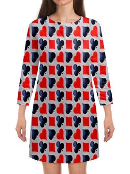 """Платье с рукавами """"Карты"""" - карты, черно-красные, игры, символы, масти"""