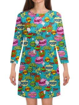 """Платье с рукавами """"Поп-арт"""" - комиксы, надписи, взрыв, поп-арт, мульт"""