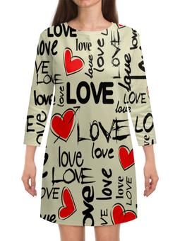 """Платье с рукавами """"Любовь"""" - любовь, сердце, i love you, надписи, день святого валентина"""