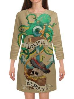 """Платье с рукавами """"Осьминог"""" - череп, якорь, old school, татуировка, пират"""