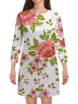 """Платье с рукавами """"Цветы"""" - цветы, розы"""