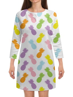 "Платье с рукавами ""Ананасы!"" - узор, фрукты, радуга, паттерн, ананас"