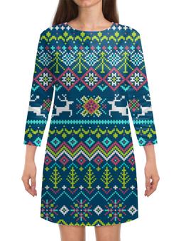 """Платье с рукавами """"Олени"""" - новый год, олени"""