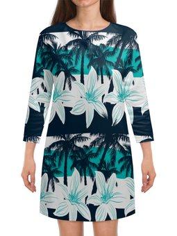 """Платье с рукавами """"Тропические цветы"""" - цветы, природа, цветочки, тропики, пальмы"""