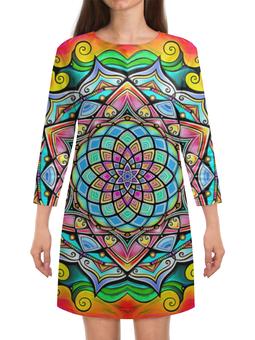 """Платье с рукавами """"Mandala HD2"""" - узор, ретро, классика, этно, симметрия"""