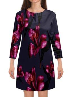 """Платье с рукавами """"Flowers"""" - цветы, узор, весна, цветочки, лилии"""