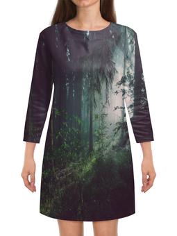 """Платье с рукавами """"Природа леса"""" - лес, деревья, природа, пейзаж, трава"""