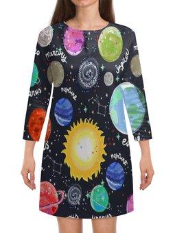 """Платье с рукавами """"Планеты"""" - звезды, космос, планеты, созвездия, галактика"""