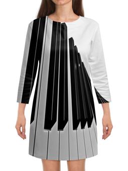 """Платье с рукавами """"Музыка"""" - музыка, клавиши, музыкальные инструменты, ноты, пианино"""