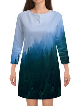 """Платье с рукавами """"Лесной пейзаж"""" - лес, природа, вода, пейзаж, туман"""