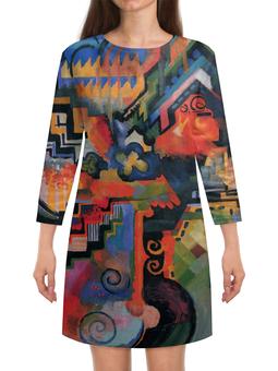 """Платье с рукавами """"Цветовая композиция (Август Маке)"""" - картина, маке, живопись"""