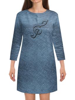 """Платье с рукавами """"серый цвет.скрипичный ключ."""" - музыка, ретро, скрипичный ключ, серый цвет"""