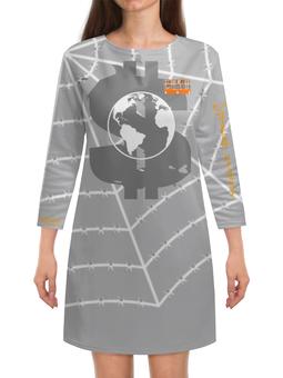 "Платье с рукавами ""World Debt Prison (666)"" - евро, штрих код, доллар, рубль, глобус"