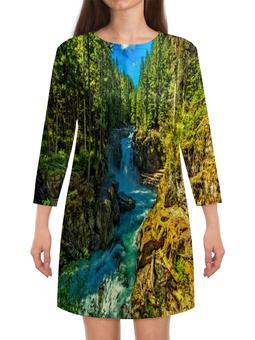 """Платье с рукавами """"Лесной пейзаж"""" - природа, горы, река, деревья, пейзаж"""