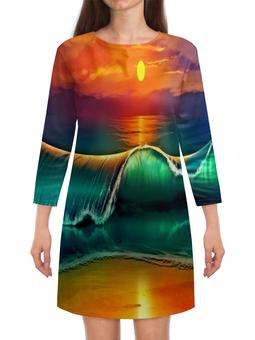 """Платье с рукавами """"Закат"""" - песок, природа, пейзаж, море, закат"""