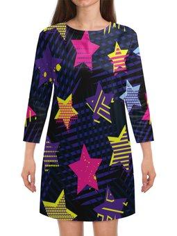 """Платье с рукавами """"Звезды"""" - узор, звезды, полосы, линии, звездочки"""
