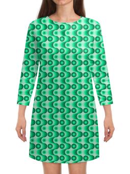 """Платье с рукавами """"Ретро #1"""" - волны, круги, зеленый, светлый, темный"""