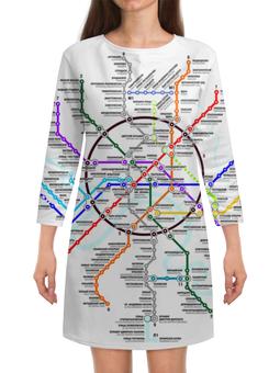 """Платье с рукавами """"Схема метро Москвы"""" - карта, метро, москва"""