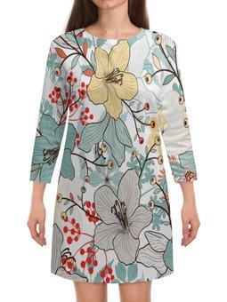 """Платье с рукавами """"Цветочный сад"""" - цветы, узор, листья, деревья, природа"""