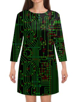 """Платье с рукавами """"Печатная плата"""" - электрика, технологии, электроника, печатная плата, микросхема"""