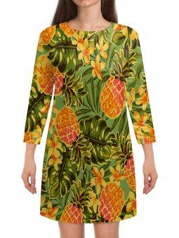 """Платье с рукавами """"Ананасы"""" - узор, фрукты, листья, тропики, ананасы"""