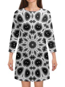 """Платье с рукавами """"Черно-белая мандала"""" - узор, цветок, белая, черная, мандала"""